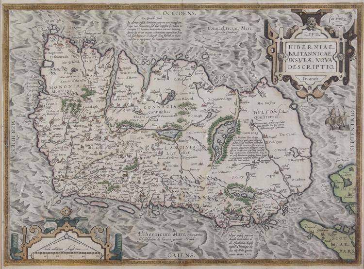 ORTELIUS, ABRAHAM (1530-1585)A Map of IrelandEngraving, 365 x 490cmLatin text verso