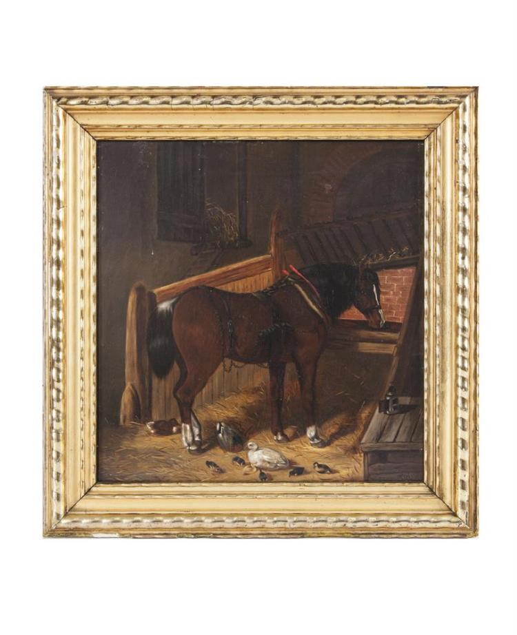 MANNER OF HERRING (19TH CENTURY)Bay in a Stable with DucksOil on canvas, 41.5 x 39.5cmSigned with initials 'GH' and dated 1861