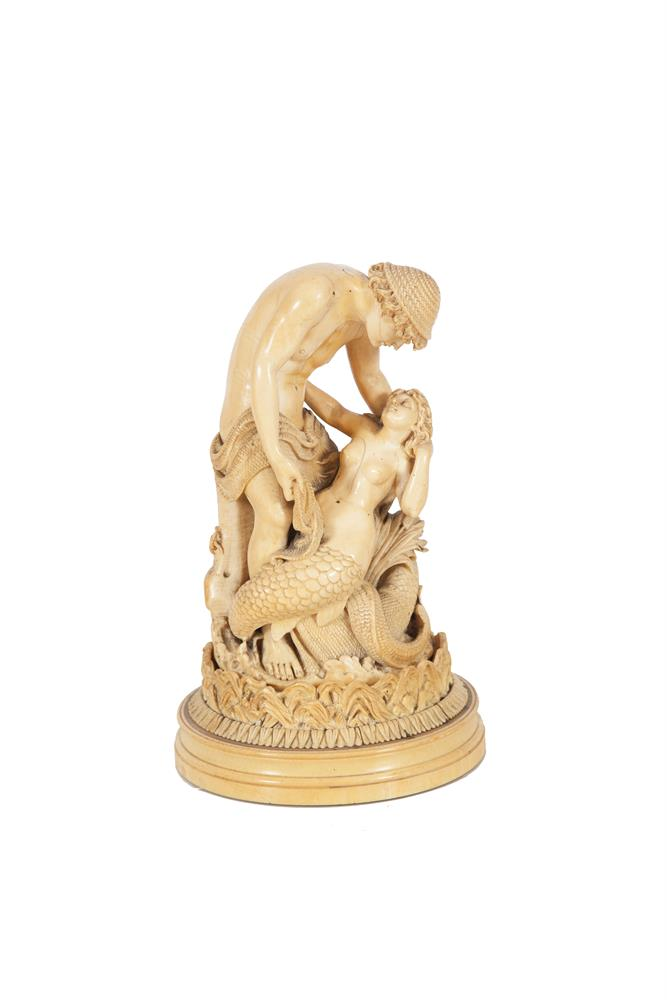 A FRENCH 19TH CENTURY CARVED DIEPPE IVORY GROUP, signed Schuller, depicting 'The Fisherman and the Siren', modelled after Lord Frederic Leighton's original. 24.5cm highPLEASE NOTE: THIS ITEM CONTAINS OR IS MADE OF IVORYBidders should be advised t