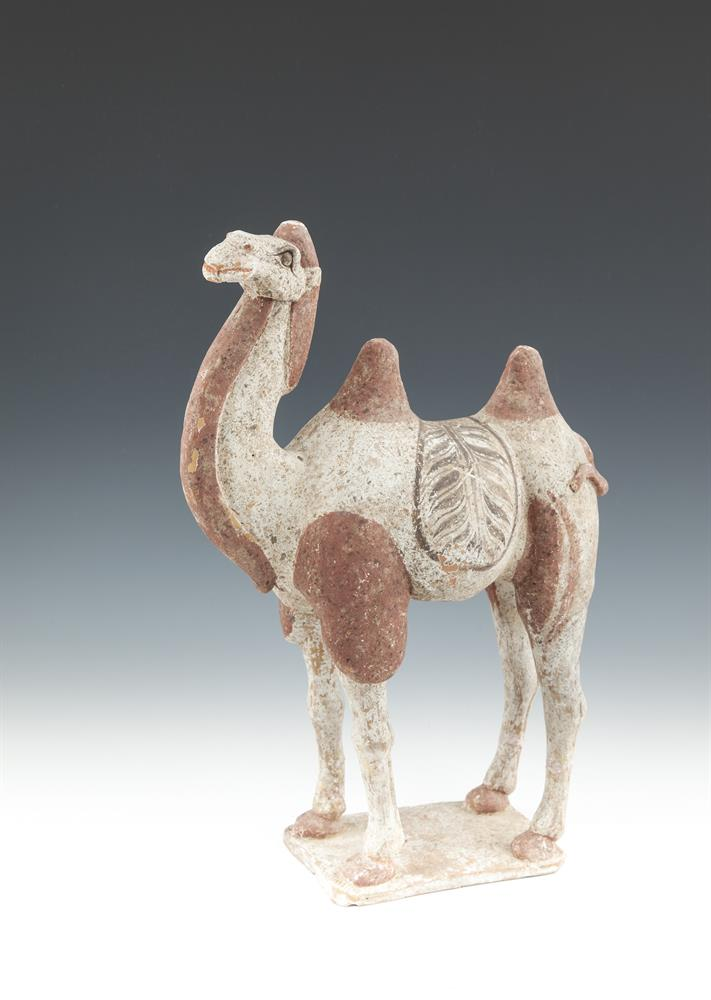 A PAIR OF CHINESE TANG POTTERY CAMELS, each standing on rectangular plinth, with foliate painted saddles, in red and cream tones, 'T.L. tested'. 40cm highProvenance: Christie's Interiors, April 8th 2008, Lot 163, 5350