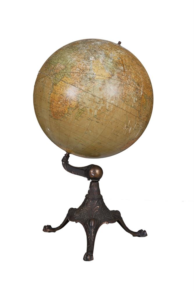 A PAPIER MACHÉ GLOBE, the 16 globe published 'Denoyer Geppert & Co. Chicago', mounted on a bronzed tripartite stand. 69cm tall