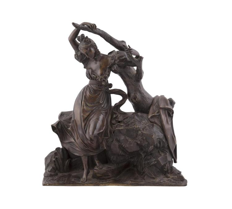 A FRENCH BRONZE GROUP OF A LADY IN NATURALISTIC SETTING, 19th century, barefoot, with an arm outstretched as she perches at the base of a tree, her cloak draped to one side. 26cm high x 35.5cm wide