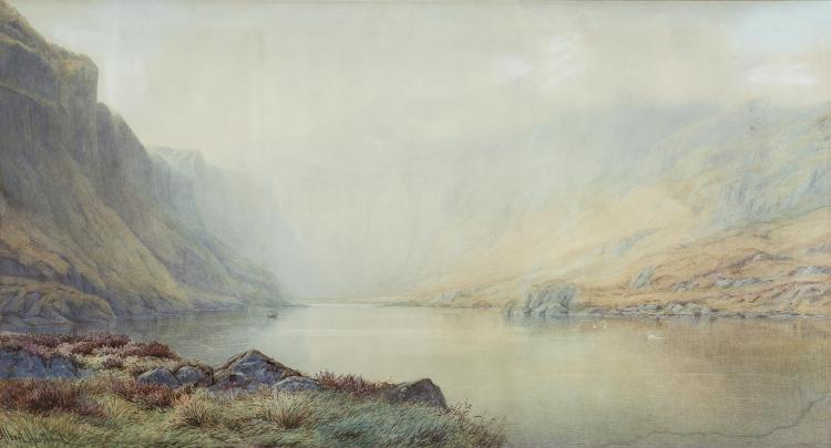 HENRY ALBERT HARTLAND (1840-1893)Glenbeigh Lake, KerryWatercolour, 55 x 100 cmSigned, inscribed on old label verso