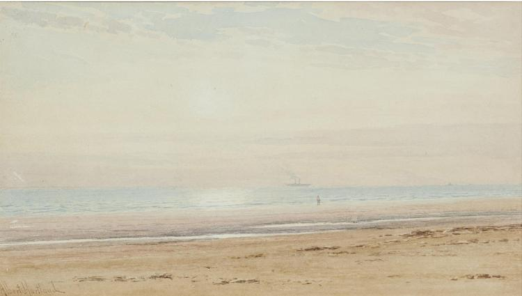 HENRY ALBERT HARTLAND (1840-1893)Coastal scene with distant steamerWatercolour, 20 x 35cmSigned