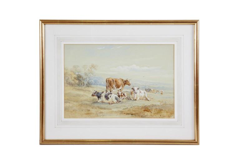 HENRY EARP SENIOR (1831-1914)Cattle Resting on a HillsideWatercolour, 24 x 36cmSigned