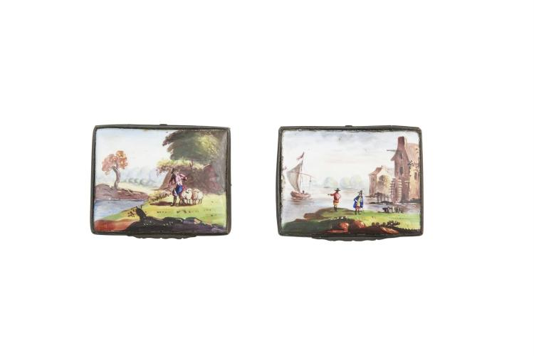 AN ENAMEL PATCH BOX, 18th century, probably Bilston, the hinged lid painted with a rural landscape, the body with scattered flowers. 7.5cm wide; together with another similar box and a French agate and gilt metal mounted casket, late 19th century, of