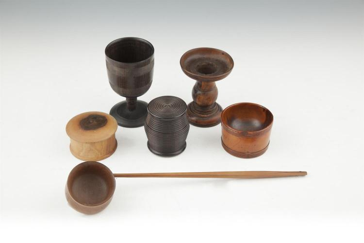A COLLECTION OF GEORGIAN AND LATER TREEN, including lignum vitae bowl, stand, boxes and ladle. (6)