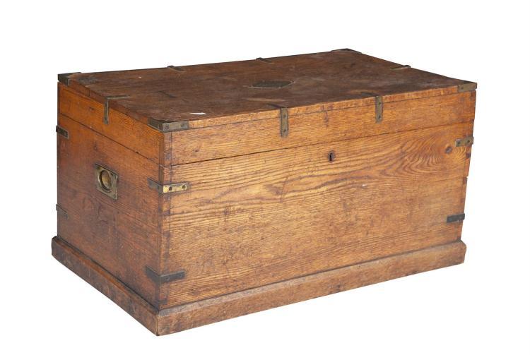 A BRASS BOUND PINE TRUNK, of rectangular form with hinged lid, with brass plate inscription reading 'Joseph Thompson'. 81 x 44cm