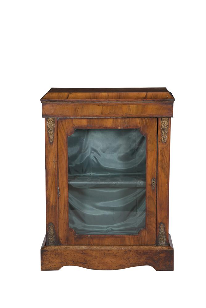 A VICTORIAN INLAID WALNUT RECTANGULAR SIDE CABINET, the pediment top above glazed door, with fitted shelves, decorated with boxwood stringing and applied metal mounts. 75 x 106cm