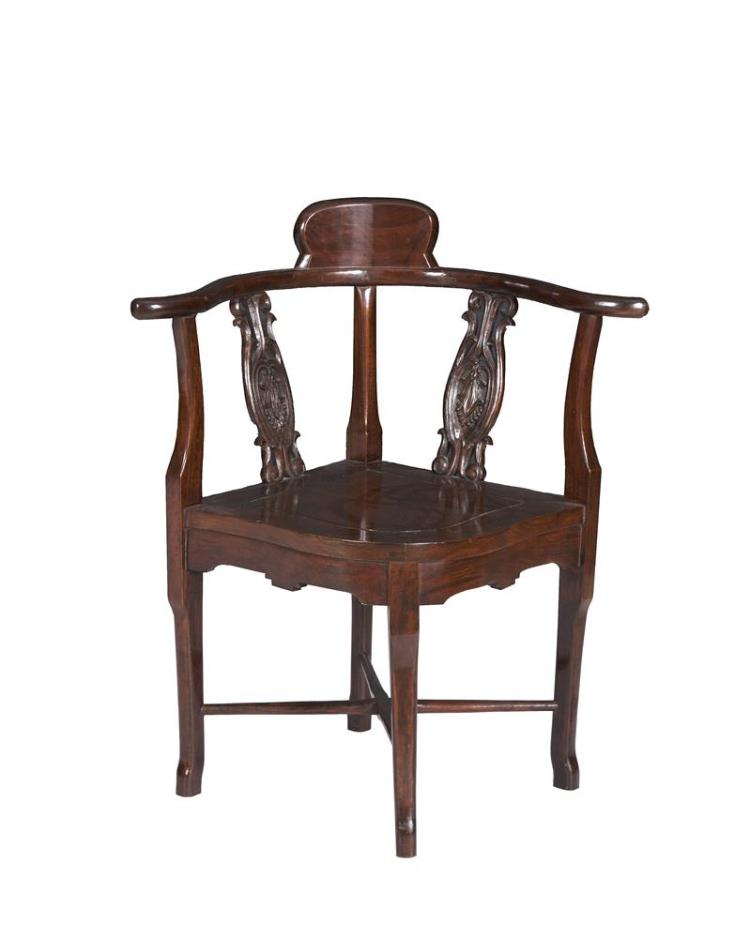 AN EDWARDIAN INLAID MAHOGANY ELBOW CHAIR, the back splat inlaid with horns of plenty, raised on cabriole legs;together with a cherrywood corner chair in the European taste. (2)