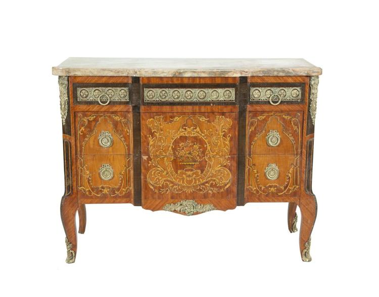 ***PLEASE NOTE ESTIMATE SHOULD READ €1,000 - 1,500 IN THE PRINTED CATALOGUE*** A FRENCH LOUIS QUINZE STYLE KINGWOOD MARQUETRY BREAKFRONT SIDE CABINET, with marble top above three long drawers, the top drawer with applied brass fascia and ring handle