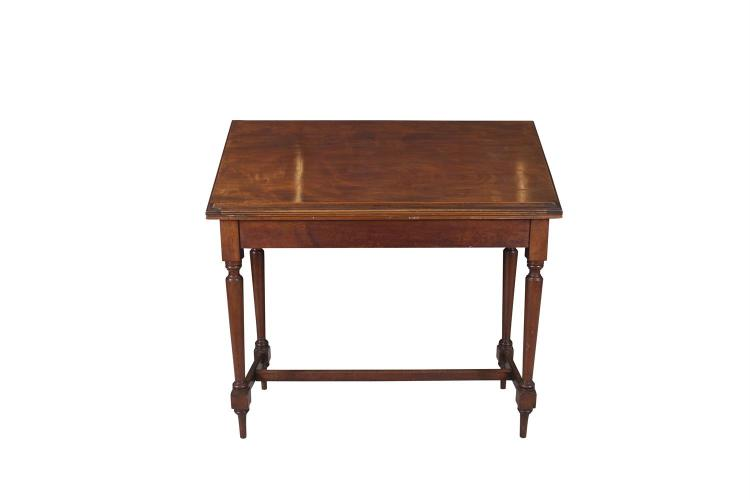 A 19TH CENTURY MAHOGANY ARCHITECT'S DESK, of rectangular form, the moulded ratchet action top applied with reeded reading ledge and enclosing storage space, on turned tapering supports, joined by 'H' shaped stretcher, labelled Arthur Jones and Sons,