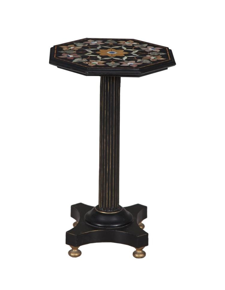 AN INLAID MARBLE OCTAGONAL TOP OCCASIONAL TABLE, decorated with inlaid panels in specimen marble on fluted octagonal column and quadruped legs.