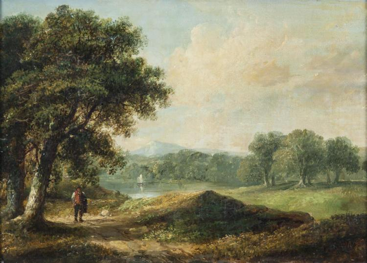 JAMES ARTHUR O'CONNOR (1792-1841)A Wooded Landscape with a Man on a Path, a Lake BeyondOil on canvas, 24 x 33.5cmSigned with initials and indistinctly dated c.1840