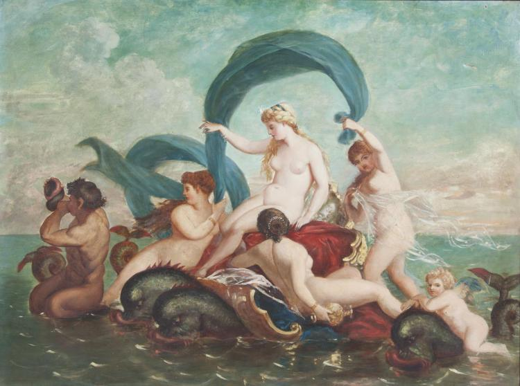 ITALIAN SCHOOL (17TH CENTURY STYLE)The Birth of Venus, Venus with attendants carried on a sea chariotOil on canvas, 91 x 112cm