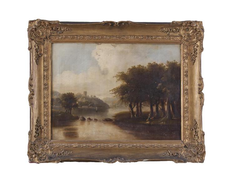 BRITISH SCHOOL (19TH CENTURY)River landscape with figuresOil on canvas, 46 x 61cm