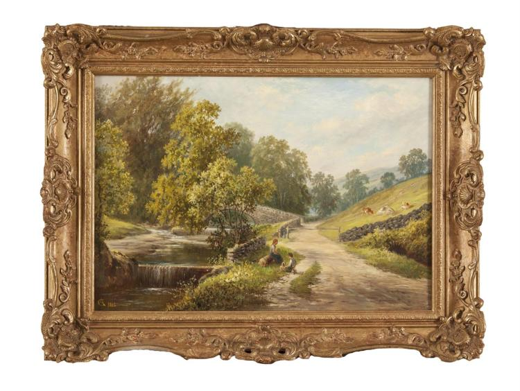 GEORGE ALEXANDER (1832-1913)'Bogden Beck' and ' On the Ryburn'A pair, oil on canvas, 35.5 x 40.5cmBoth signed with monograms, dated 1886 and also signed and inscribed with titles verso