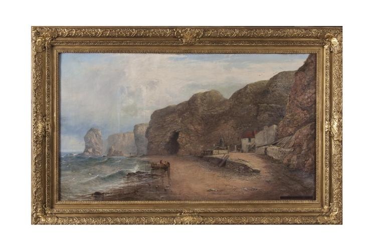 GEORGE 'BLACKIE' STICKS (1843-1938)Marsden Bay, South ShieldsOil on canvas, 61 x 104cmSigned and dated 1873 lower right