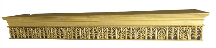 A PAIR OF CARVED GILTWOOD RECTANGULAR PELMETS with moulded cornice above pierced anthemion frieze in the manner of Robert Adam. 206 wide, 37.5cm deep, 25cm hanging length