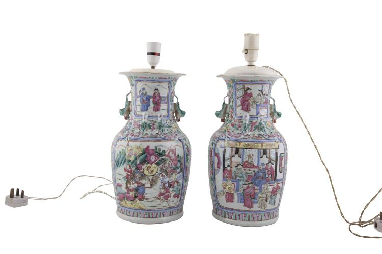 A PAIR OF CANTONESE FAMILLE ROSE PORCELAIN BALUSTER TABLE LAMPS, in the traditional taste, with figural decoration. 36cm high