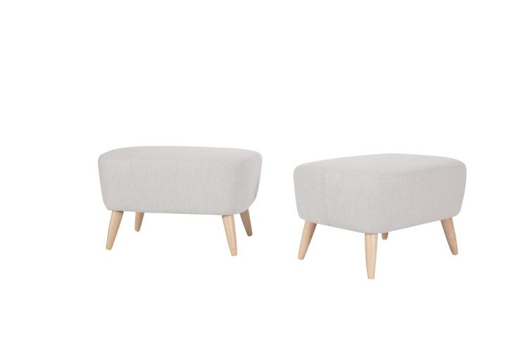 A PAIR OF UPHOLSTERED SHAPED RECTANGULAR STOOLS, covered in pale grey fabric and raised on outsplayed beech legs. 66 x 48 x 38cm high