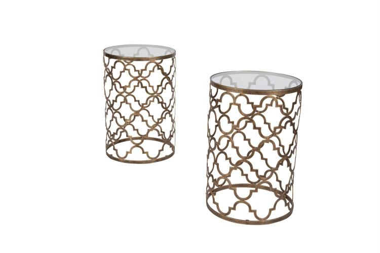 A PAIR OF BRONZED METAL PIERCED CYLINDRICAL OCCASIONAL TABLES, fitted removable glass tops. 41cm diameter x 61cm high