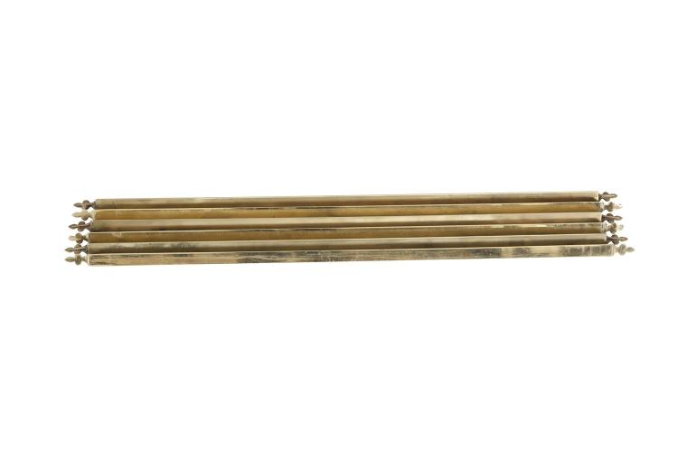 A SET OF TWENTY-SIX BRASS TRIANGULAR STAIR RODS, with plain fleur de lys finials. 80cm (19); 84cm (6); 88cm (1)