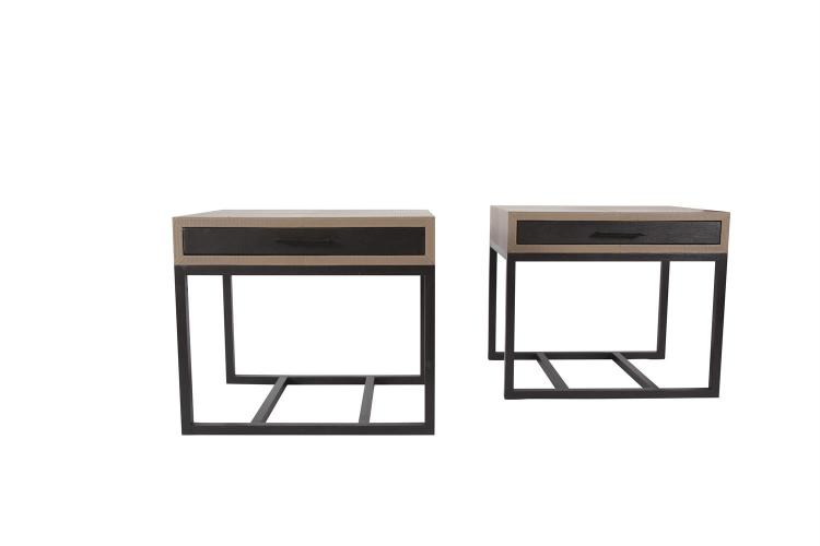 A MODERN PAIR OF RECTANGULAR SIDE TABLES, the stitched, textured leather top with fitted ebonised fronted drawer raised on ebonised square supports and stretchers. 75 x 55 x 65cm high