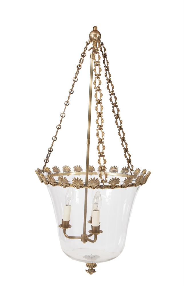 A SINGLE CAST BRASS MOUNTED HALL LANTERN, the upturned clear glass bowl shade fitted with three light sconce, the frame decorated with anthemion banding. Shade: c.38cm diameter x c.40cm high
