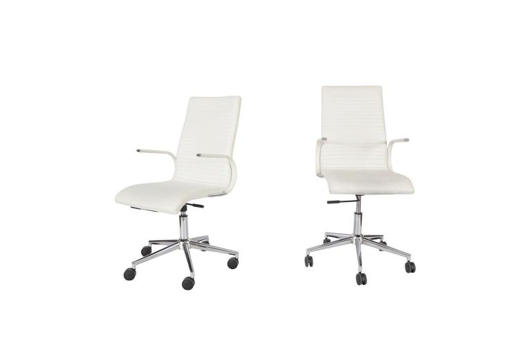 A PAIR OF BO CONCEPT WHITE LEATHER COVERED OFFICE ARMCHAIRS, on chrome swivel bases. 49cm wide, height extending from 98cm to 107cm