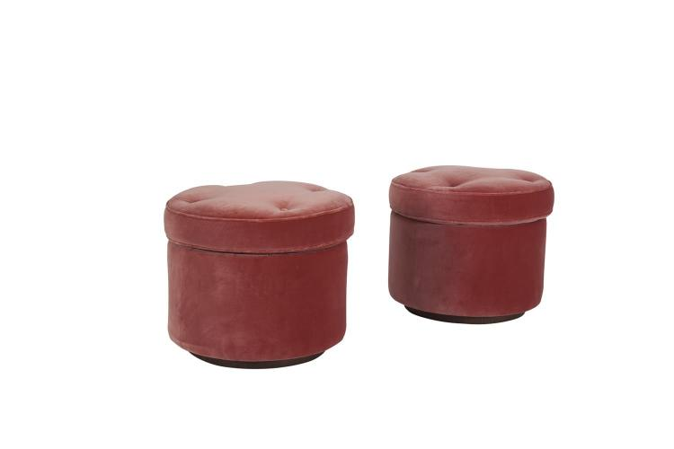 A PAIR OF LUIS LAPLACE DESIGNED CIRCULAR BUTTON UPHOLSTERED STOOLS, made by Phelippeau Tapissier of Paris, the two-part piece raised on a timber ring foot, c.2013. 40cm diameter x 50cm high