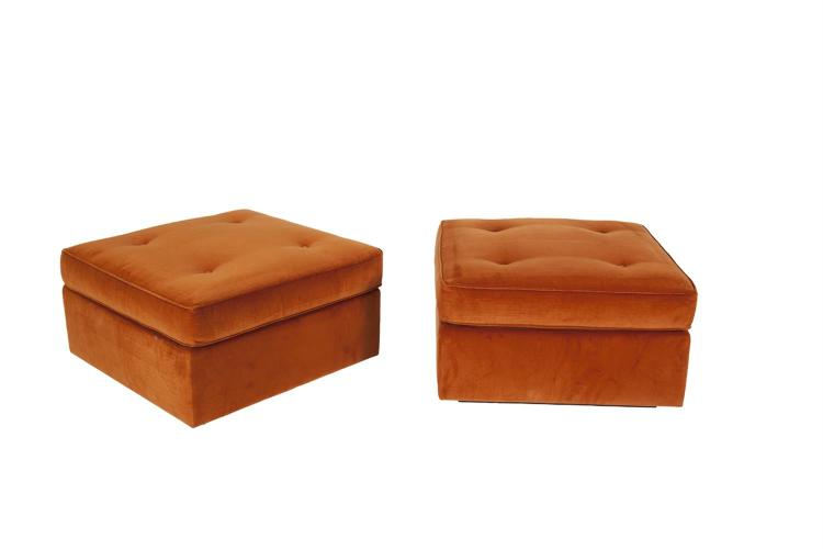 A PAIR OF LUIS LAPLACE DESIGNED SQUARE BUTTON UPHOLSTERED OTTOMANS, made by Phelippeau Tapissier of Paris, the two-part piece raised on a timber rim foot, c.2013. 80 x 80 x 42cm high