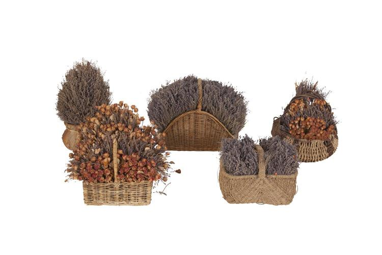 A COLLECTION OF 'KENNETH TURNER' FLOWER BASKETS, containing dried lavender, two with roses and lavender; together with a pair of small pom pom trees in decoration pots. (7)