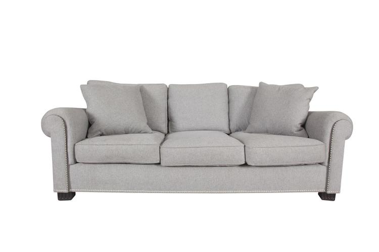 A PAIR OF THREE-SEATER 'JAMAICA SOFAS' BY RALPH LAUREN, upholstered in cashmere wool light grey fabric, the arms and base with studded detail, raised on square fluted supports. 230cm wide, 115cm deep, 86cm high