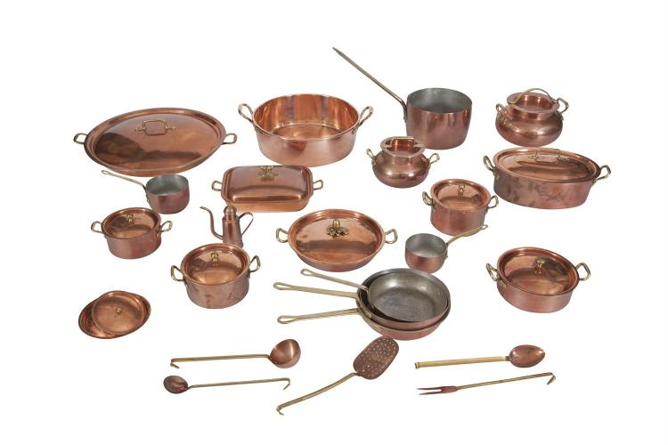 A LARGE BATTERY OF BRASS MOUNTED COPPER KITCHEN WARE, including preserve pan, paella pans and lids, sauce pans, five piece implement set, casserole pots etc. by 'Baffaglia Menaggio', 'Ruffoni', 'Mauviel' etc. (c.18 pieces)