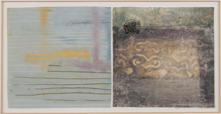 ANITA GROENER (B.1958)'Echo', 'Alight' and 'Transition' (May 1996)A set of three diptychs, mixed media on paper, c.12 x 12cmSigned. (6)Provenance: With Rubicon Gallery, Dublin.