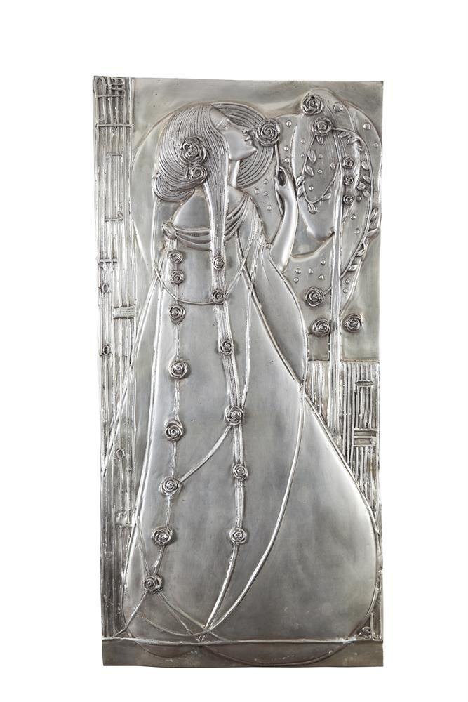 AFTER CHARLES RENNIE MACKINTOSH (1968 - 1928) Female figures amongst rosesTwo silvered cast metal wall hangings, approx. 59 x 29cm each