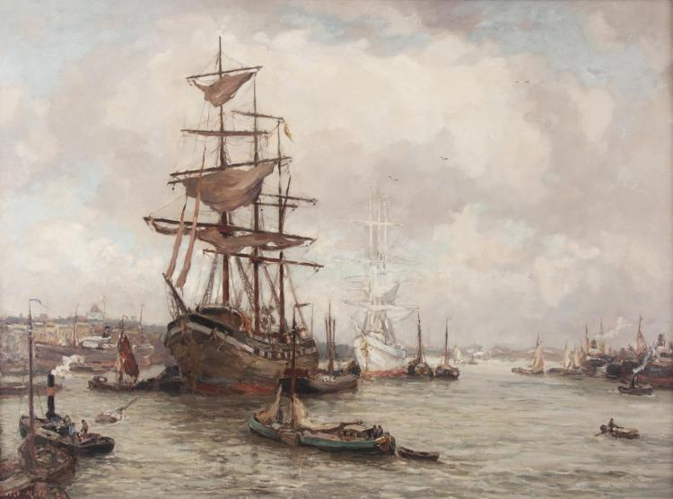 EVERT MOLL (1878-1955)Amsterdam - An Extensive View of the PortOil on canvas, 90 x 123cmSignedProvenance: Sale Sotheby's New York, 23 May 1989, lot 226