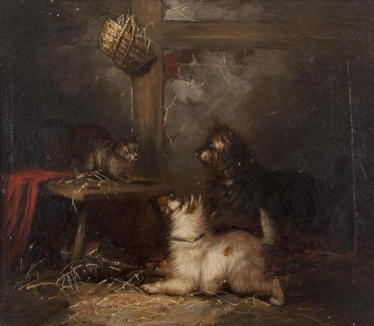 GEORGE ARMFIELD (c.1808-1893)Terriers Terrorising a Cat in an InteriorOil on canvas, 30.5 x 36cm (12 x 14)Signed 'G. Armfield'