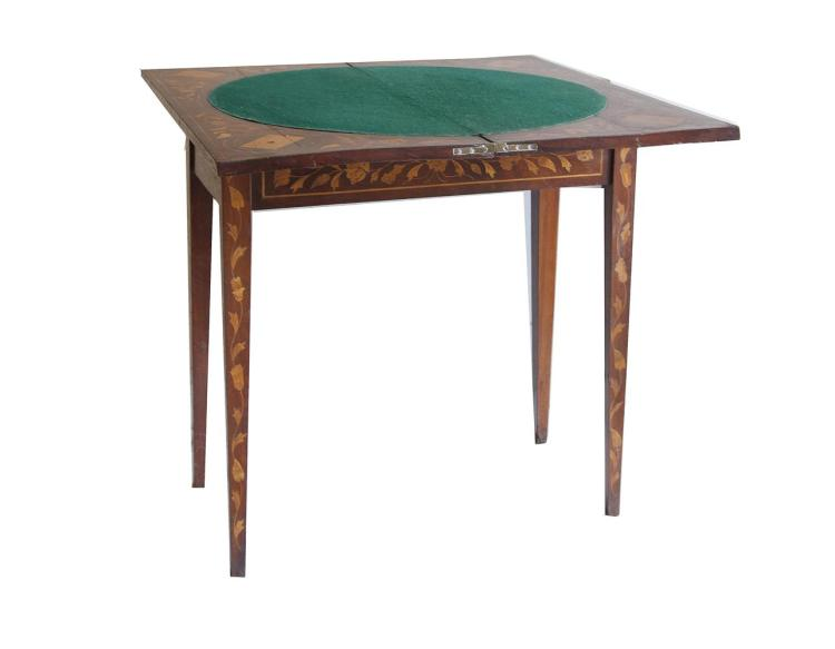 A 19TH CENTURY DUTCH MARQUETRY RECTANGULAR FOLDING TOP GAMES TABLE, the top decorated with a vase of flowers within an oval border, opening to reveal a baise lined interior decorated with trailing flowers and four playing cards, raised on square tape