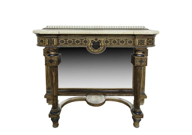 A VICTORIAN SIMULATED ROSEWOOD CONSOLE TABLE, with brass gallery rail, above a yellow veined marble top, the frieze with ebonised flower head banding, centred with a cartouche bearing initials 'RR', the mirrored back panel flanked by reeded pilasters