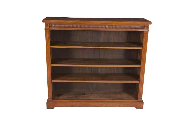 A 19TH CENTURY MAHOGANY OPEN BOOKCASE OF RECTANGULAR FORM, with plain moulded top and fluted frieze above four open book compartments, on outset plinth base. 123cm wide