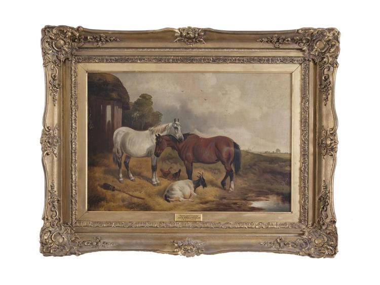 JOHN ARNOLD WHEELER (1821-1903)Farmyard FriendsOil on canvas, 40.5 x 61cm