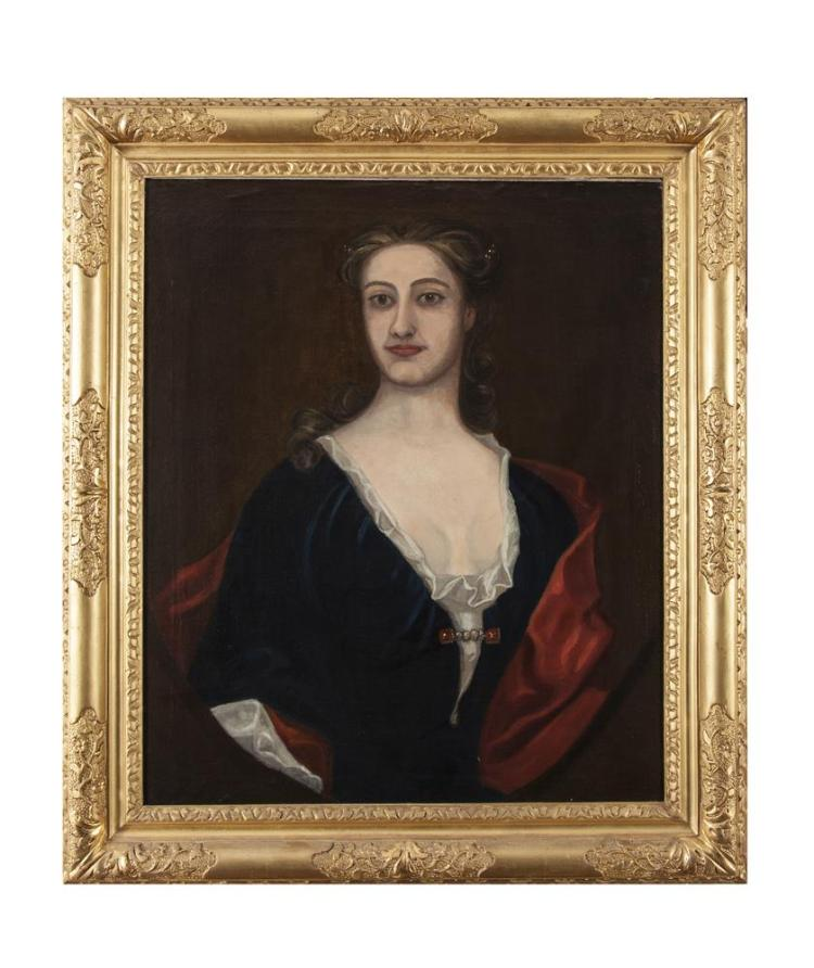 ENGLISH SCHOOL (18TH CENTURY)Portrait of the Wife of Francis BrydgesOil on canvas, 76 x 62.5cmInscribed with title verso