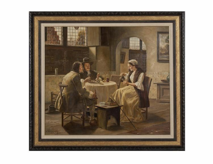 W. PURSCHKE (AUSTRIAN, 19TH CENTURY)The GuestOil on canvas, 67 x 77cm SignedWilliam Harris Gallery label verso