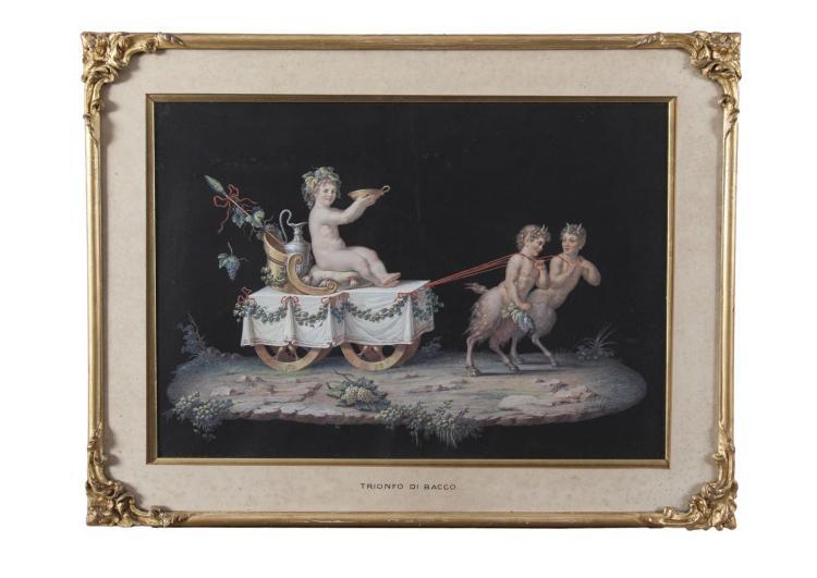 ITALIAN SCHOOL (NEAPOLITAN, 19TH CENTURY)'Trionfo di Bacco' and 'Trionfo di Plutone'A pair, gouache, 35 x 50cm