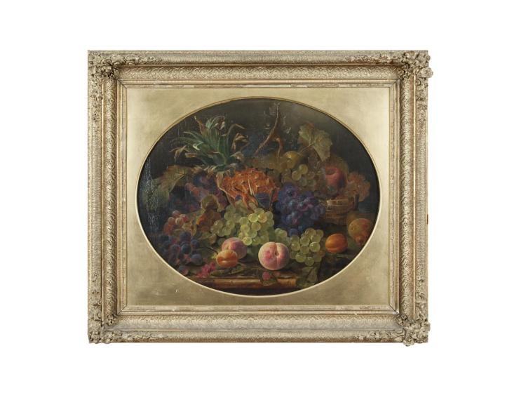ENGLISH SCHOOL (19th CENTURY)A still life of a pineapple, grapes and peaches on a ledgeOval, oil on canvas, 51 x 60cmSigned with initials, W.H.S. and dated 1863