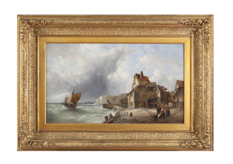 JOHN JAMES WILSON (1818-1875)Figures in a coastal villageOil on canvas, 33 x 56cmSigned with initials lower left