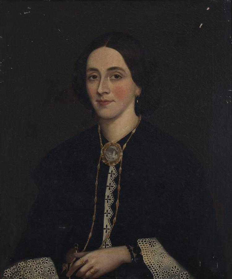 VICTORIAN SCHOOLA Portrait of a Young Woman of the Edgeworth Family wearing a black dress with lace cuffsOil on canvas, 75 x 63cm