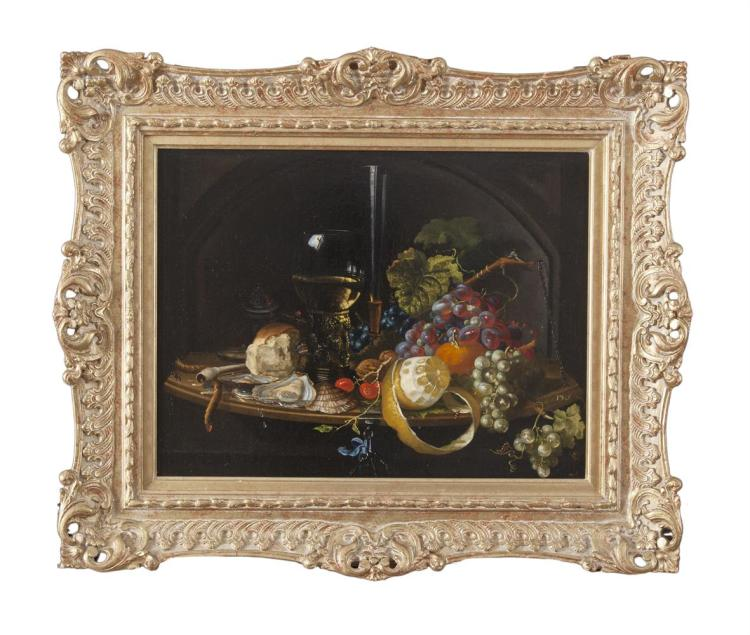 SARA HENZE (DUTCH, 19TH CENTURY)Still life with glasses of wine, grapes, bread, lemon and oysters on a platterOil on canvas, Signed versoProvenance: Cooling Gallery, Bond Street, London, label verso
